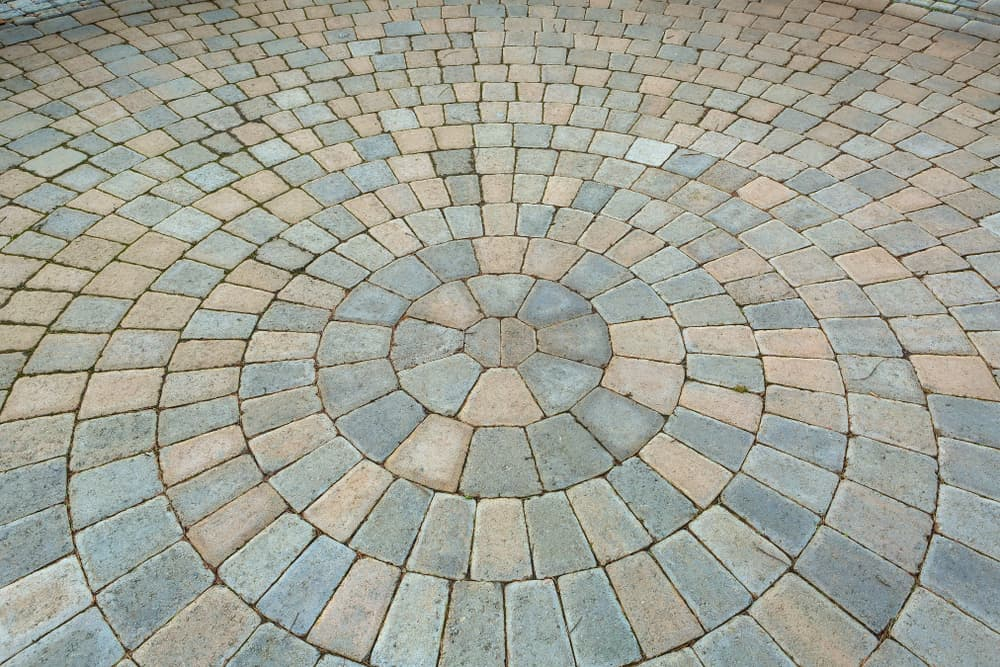 Garden Backyard circular Pattern brick stone pavers hardscape patio